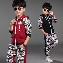 2015 outono inverno crianças define esportes atividade com capuz cheio de impressão meninos camuflagem fatos de treino miúdos vestuário casaco + calça 4 - 14 anos(China (Mainland))