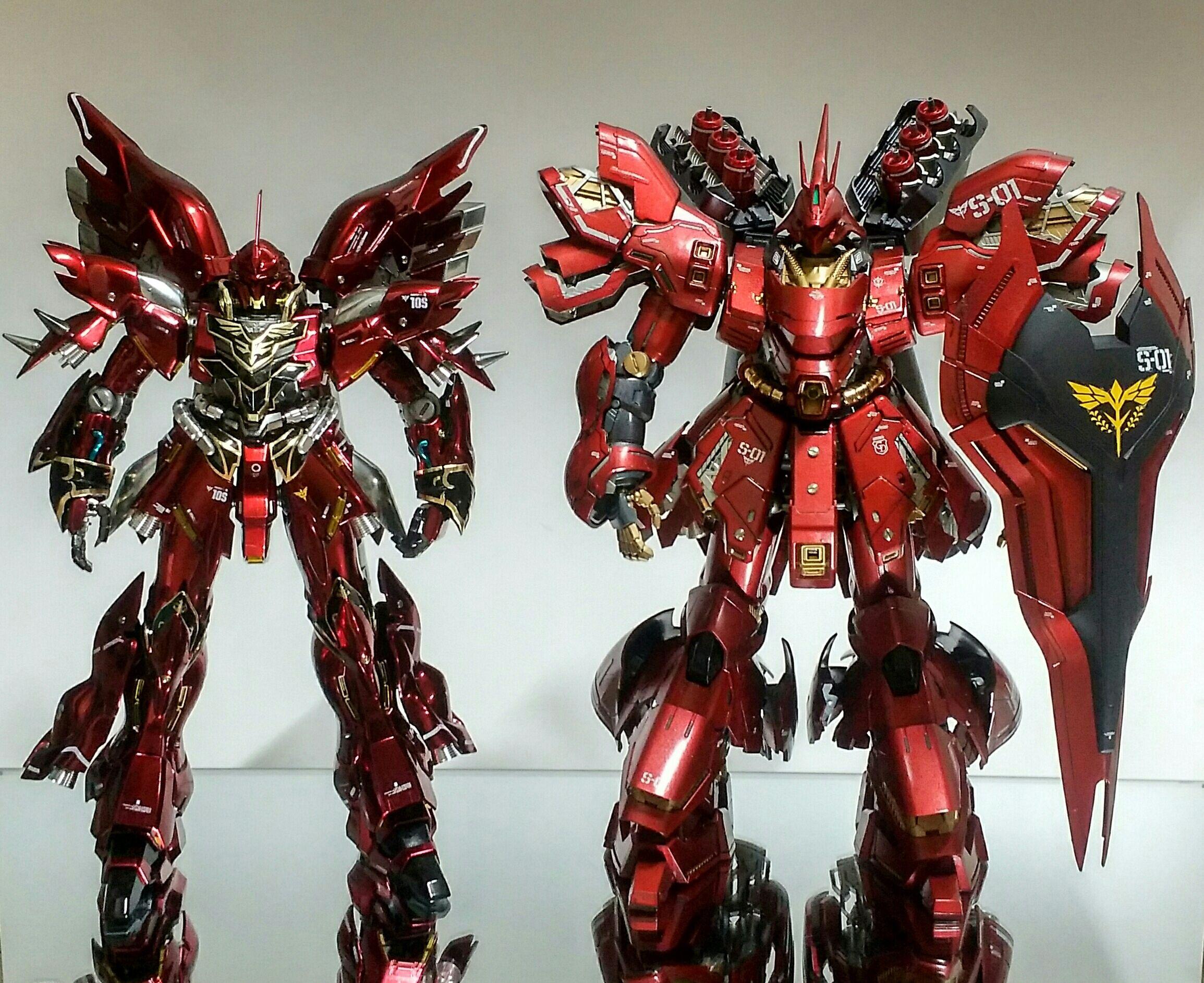 Sazabi Vs Sinanju Mg 1 100 Ova Ver Painted Build Gundam Rx 93 V Nu Ka Master Grade 1100 Daban Model