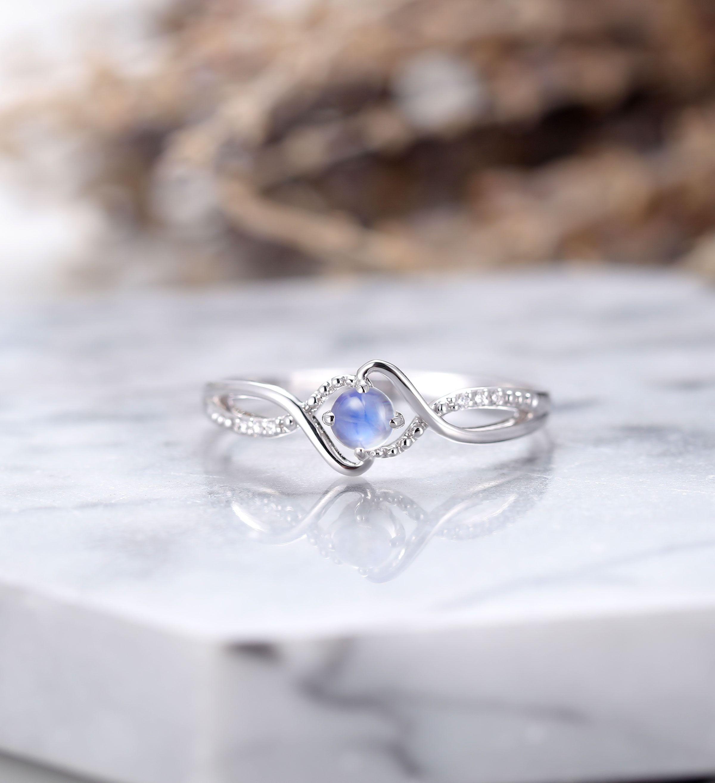 Moonstone engagement ring Vintage diamond rose gold Unique