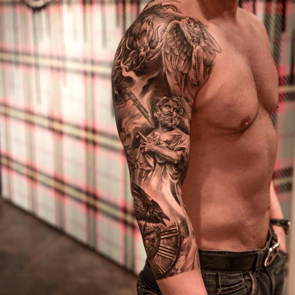 75 black and white tattoos for men masculine ink designs - Tattoos Design On Arm Sleeve Tattoo