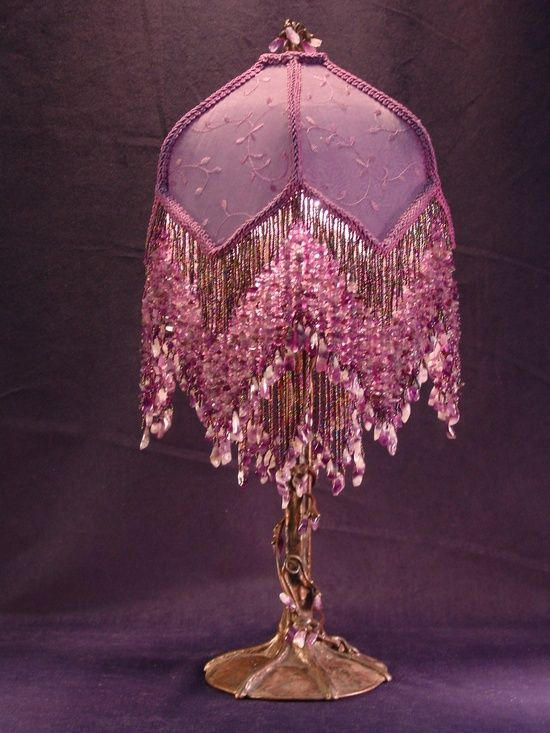 Purple Lamp Beaded Lamps Victorian Lamps Victorian Lampshades