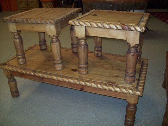 With Hand Carved Rope Edges, The Southwest Living Room Table Set Is A  Beautiful Compliment. Living Room Table SetsWestern FurnitureWestern  StyleEnd ...