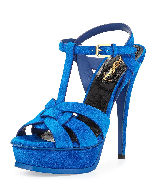 d8001e4cd8 Yves Saint Laurent Tribute Suede Platform Sandal, Blue Electric, Women's,  Size: 40.5B/10.5B