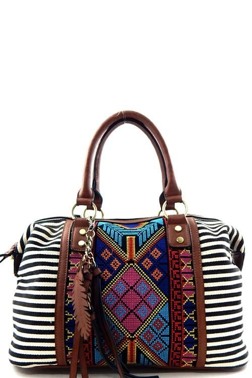 35db1e6ef Aztec and Stripe Boston Sachel | Things to Wear | Bags, Aztec purses ...