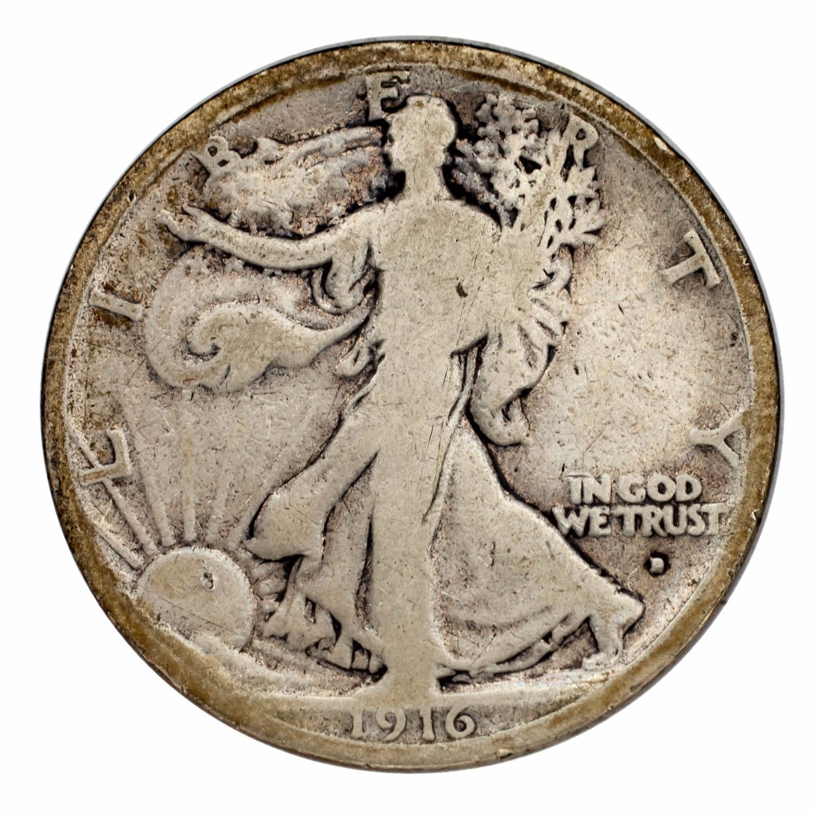 D Silver Walking Liberty Half Dollar 50c Good G