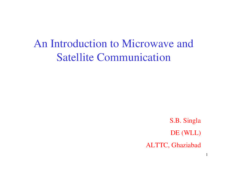 Microwave And Satellite Communication