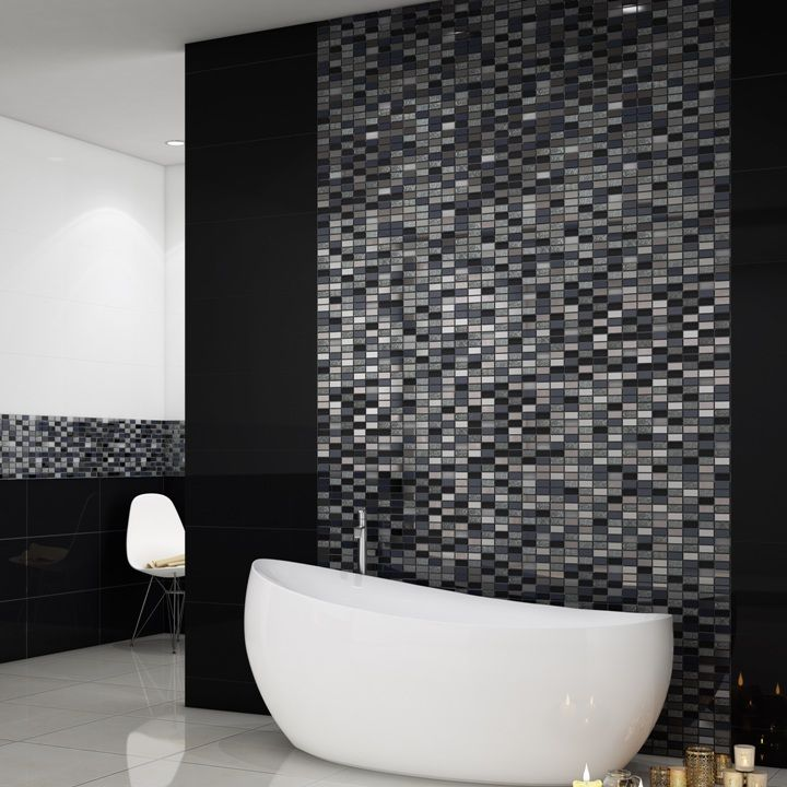 These beautiful silver and black mosaic tiles are made from natural ...