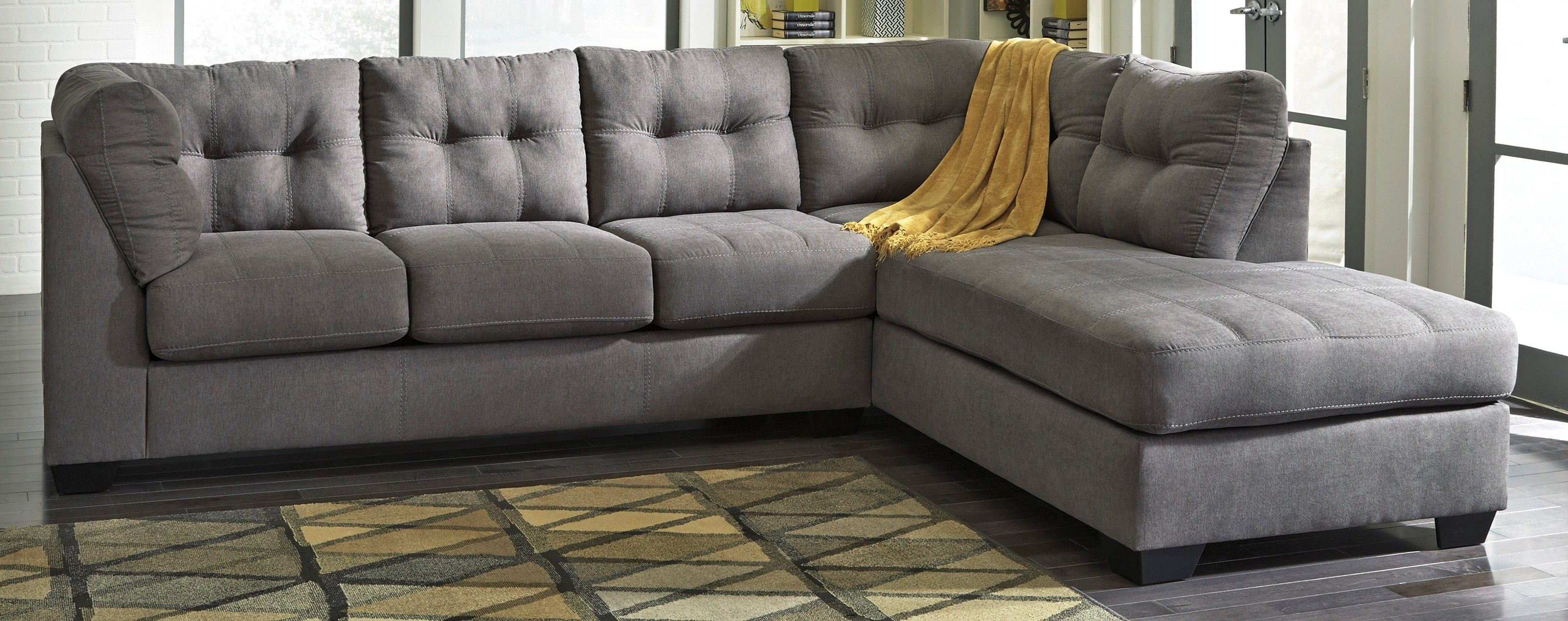 Ashley Furniture Maier Charcoal Raf Corner Chaise Sectional Sectional Furniture Mattress Furniture Charcoal Sectional