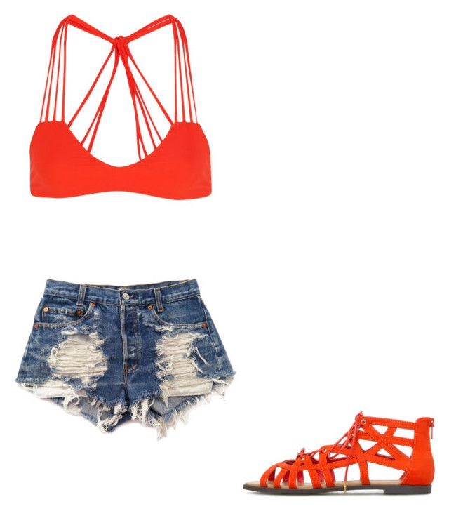 """""""❤️"""" by melodyleighmitchell on Polyvore featuring Mikoh, Levi's and ShoeDazzle"""
