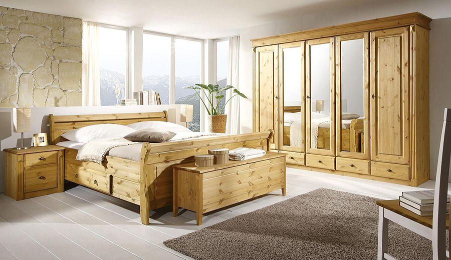 Massivholz Schlafzimmer Set   Komplett Kiefer Gelaugt Geölt