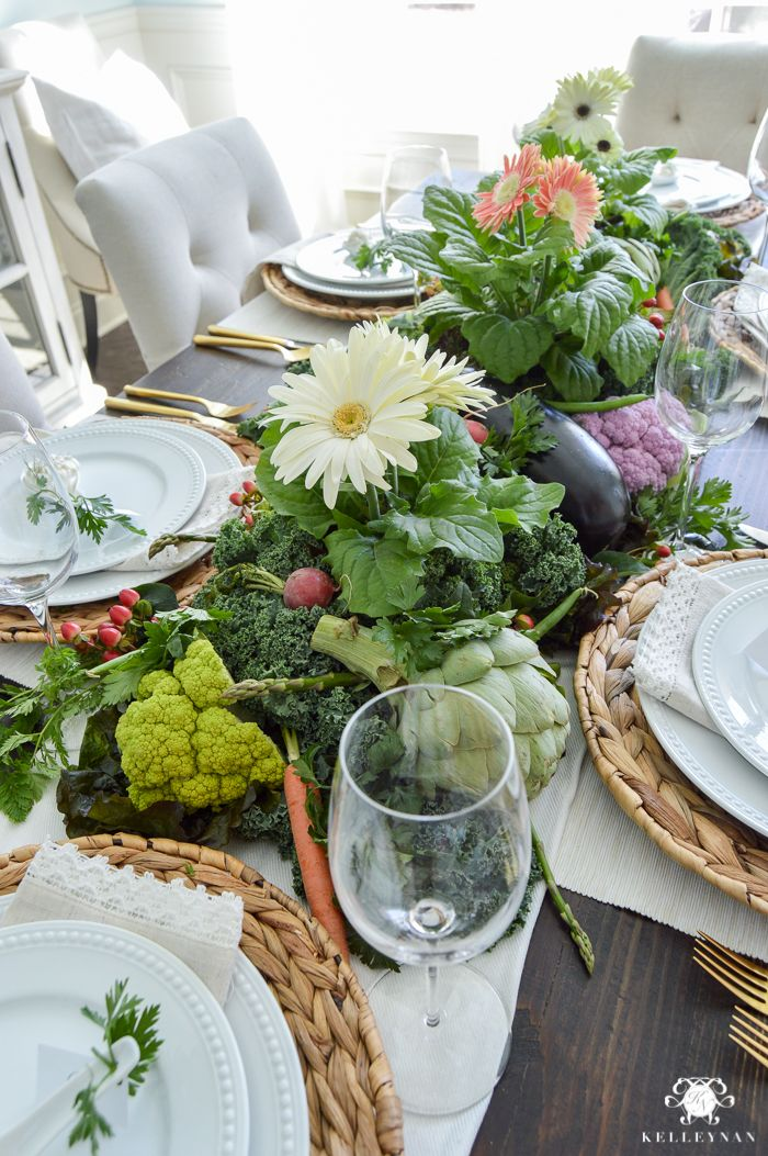 Vegetable Easter Table with woven chargers | Tablescapes Spring ...