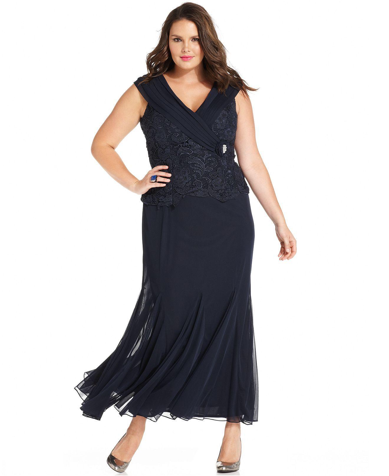Patra Plus Size Cap-Sleeve Lace Gown - Plus Size Dresses ...