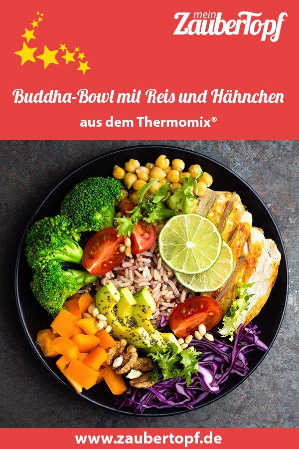 Buddha-Bowl mit Reis und Hähnchen – Rezept für den Thermomix