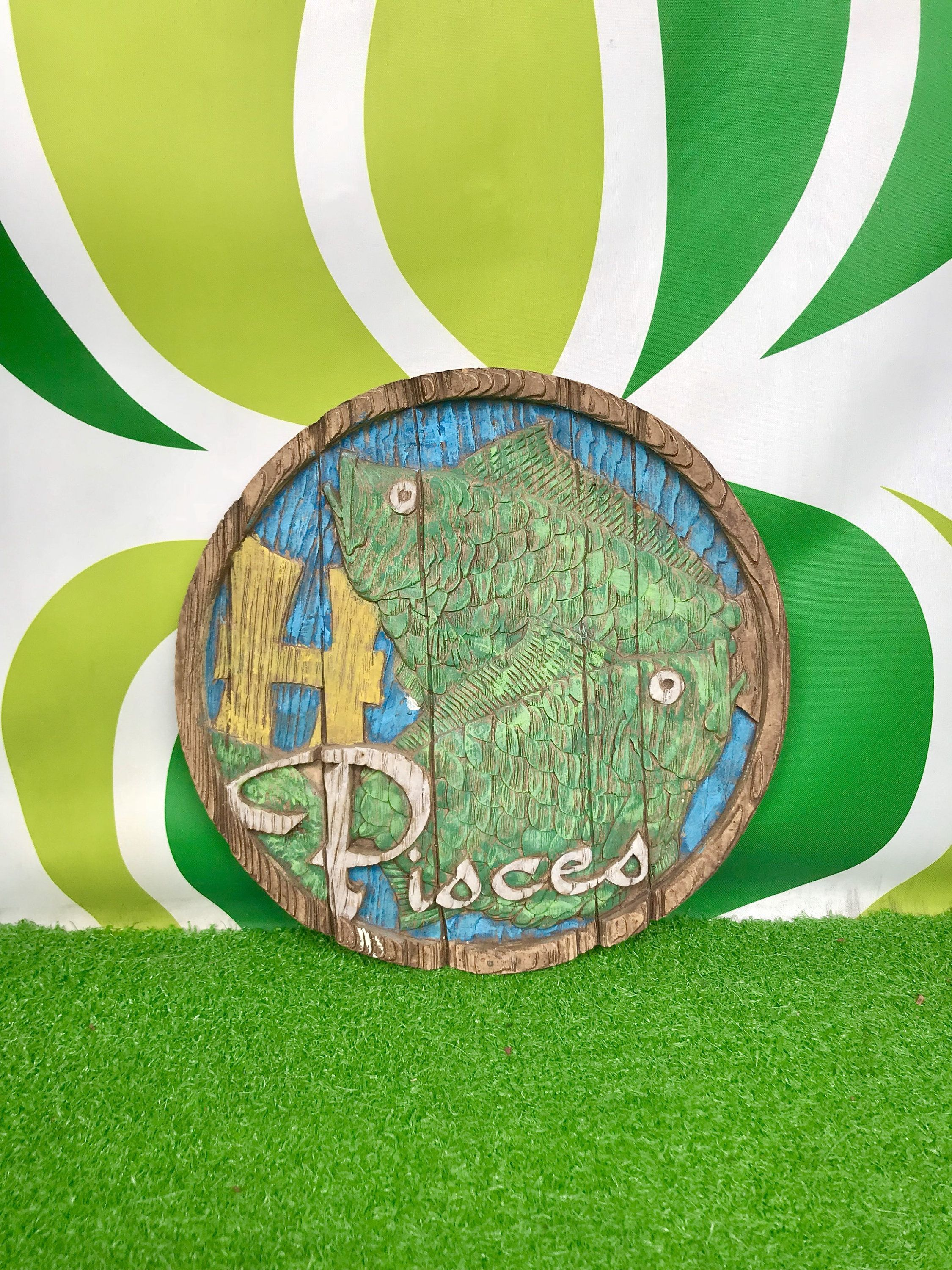 Vintage s pisces wall hanging carved wooden retro s s round