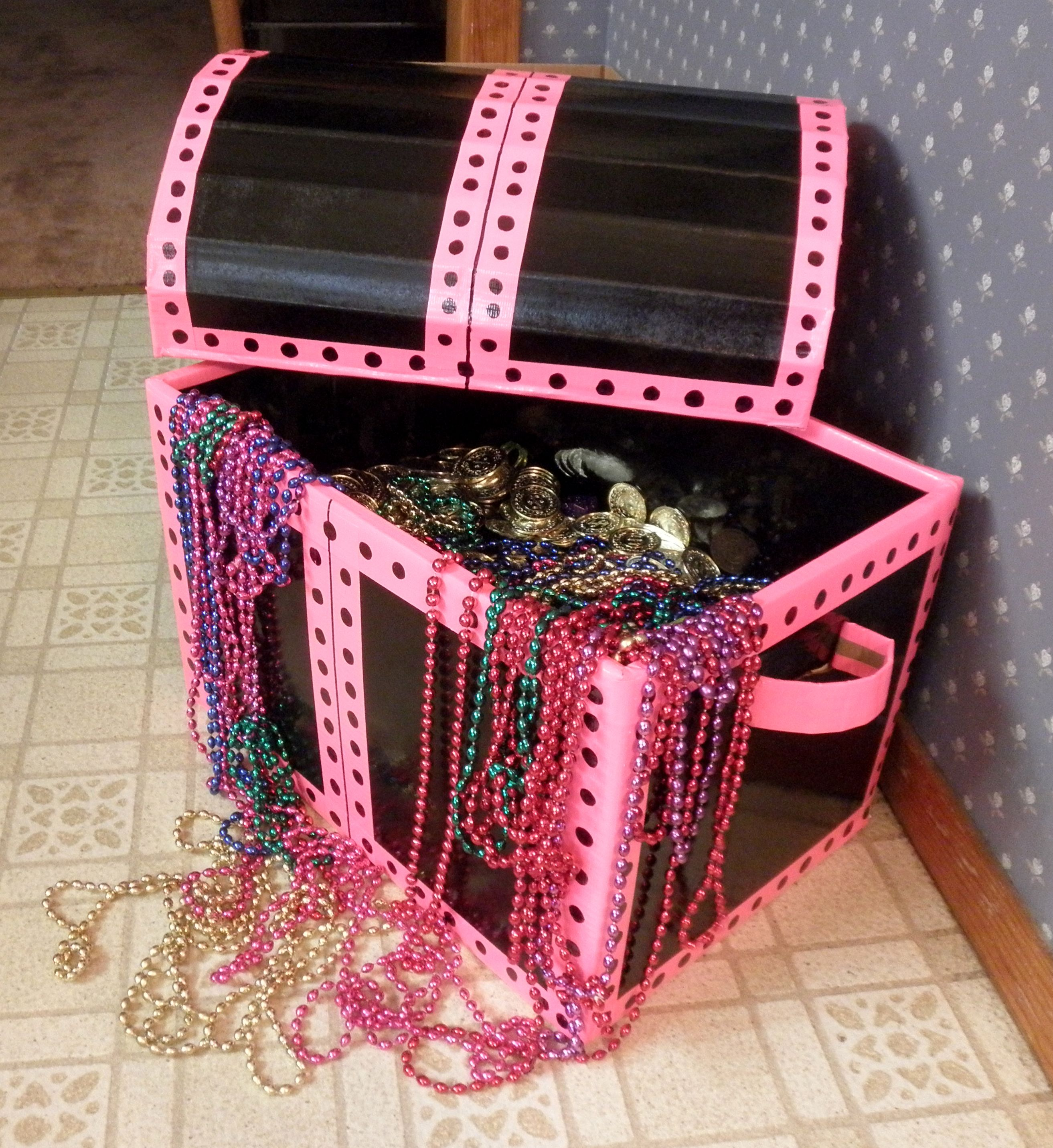 Pink girly treasure chest for Mermaid Birthday Party. Just cardboard ...