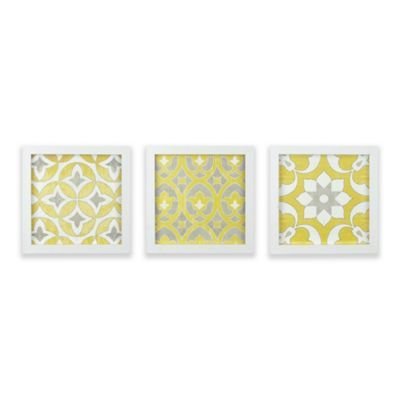 Madison Park Tuscan Tiles Framed Gel Coated Paper Wall Art In Yellow Set Of 3 Tuscan Tile Tile Wall Art Paper Wall Art