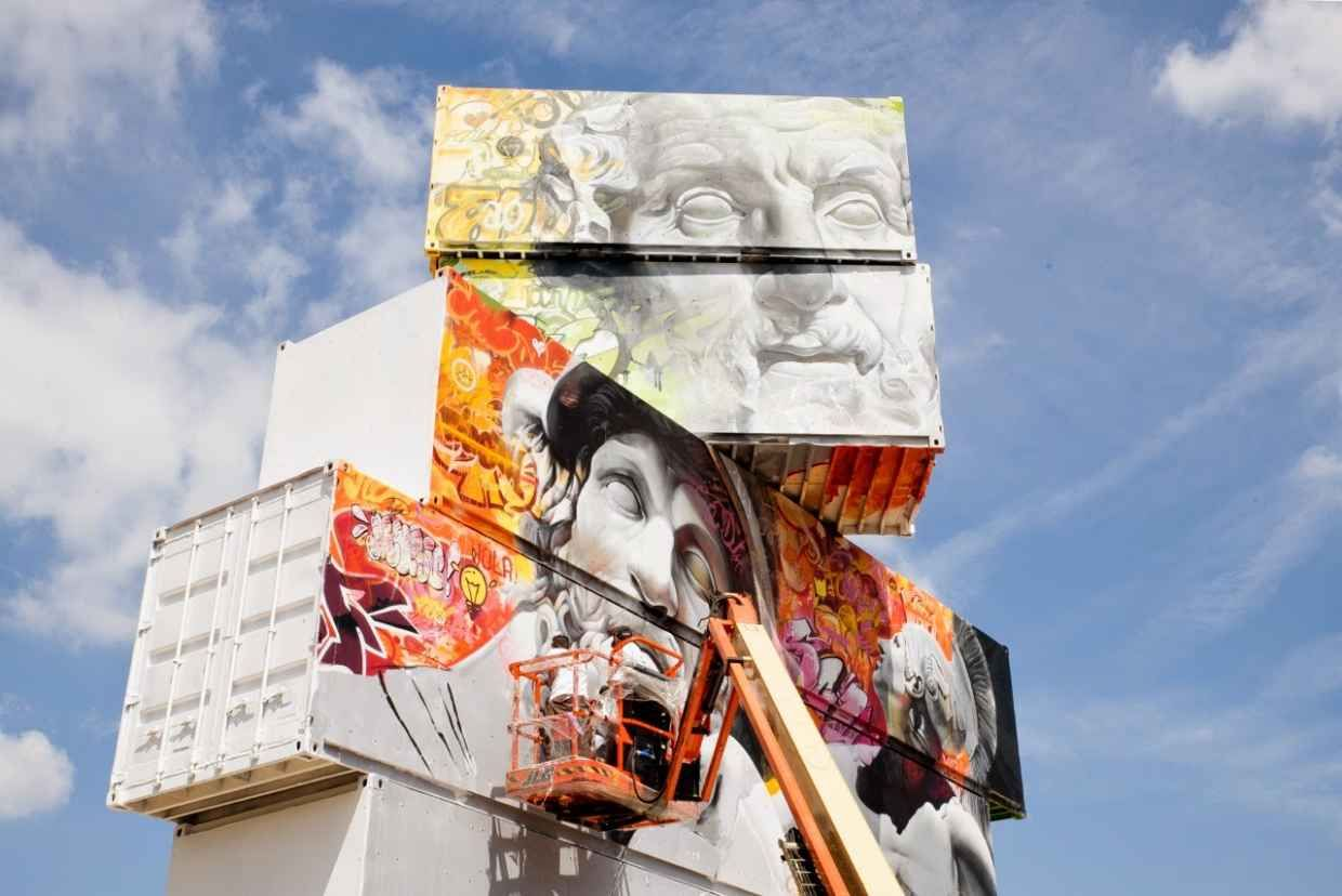 Incredible Shipping Container Art By Pichi Avo North West And - Beautiful giant murals greek gods pichi avo