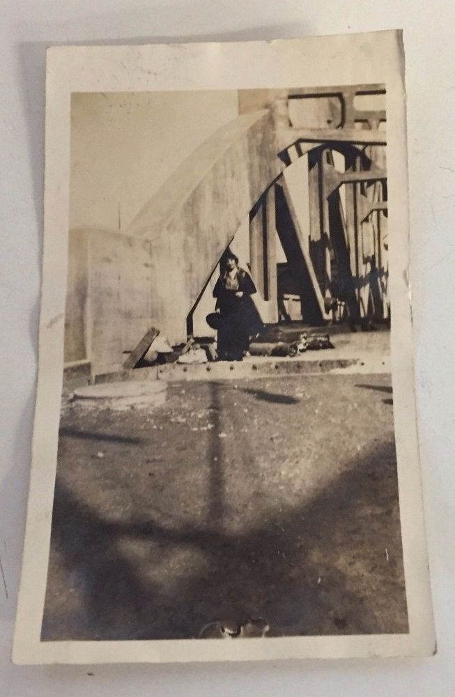 Vintage Photo Lady Hiding Posing Rubble Concert Bridge Brutalist Construction
