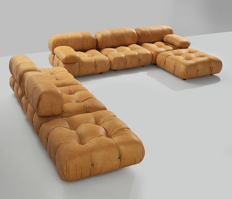 Awesome Mario Bellini Sectional Camaleonda Sofa In Cognac Leather Bralicious Painted Fabric Chair Ideas Braliciousco