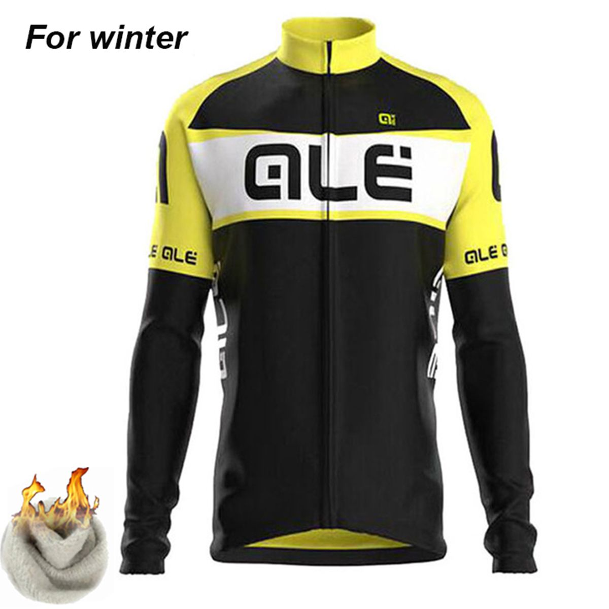 Ale Winter Men Thermal Fleece Cycling Jersey Long Sleeves Warm Ropa  Ciclismo Maillot Pro Team MTB 3905c9052