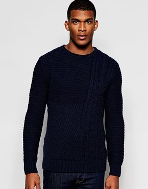 River Island Cable Knit Jumper With Crew Neck In Navy