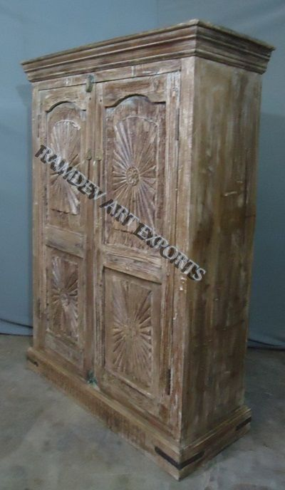 Antique Armoire India Solid Wood Iron Cladded Handcarved Vintage Storage Cabinet Antique Armoire Vintage Storage Armoire