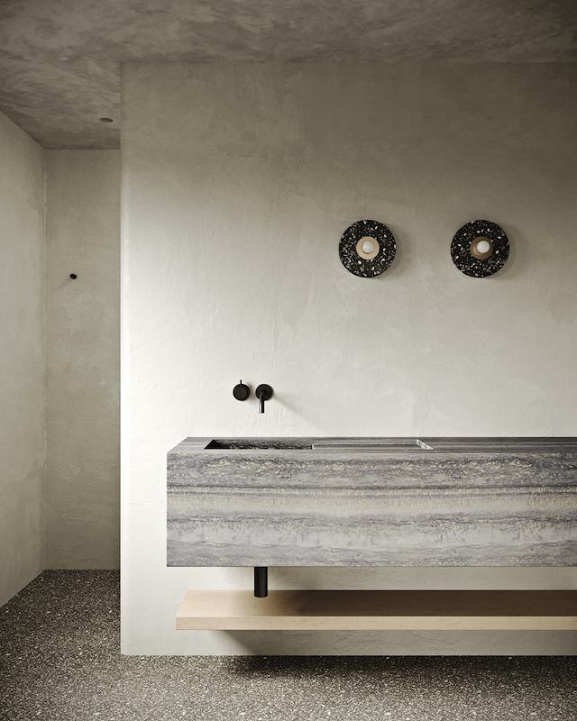 Five Minimalist Bathrooms with Textured Walls