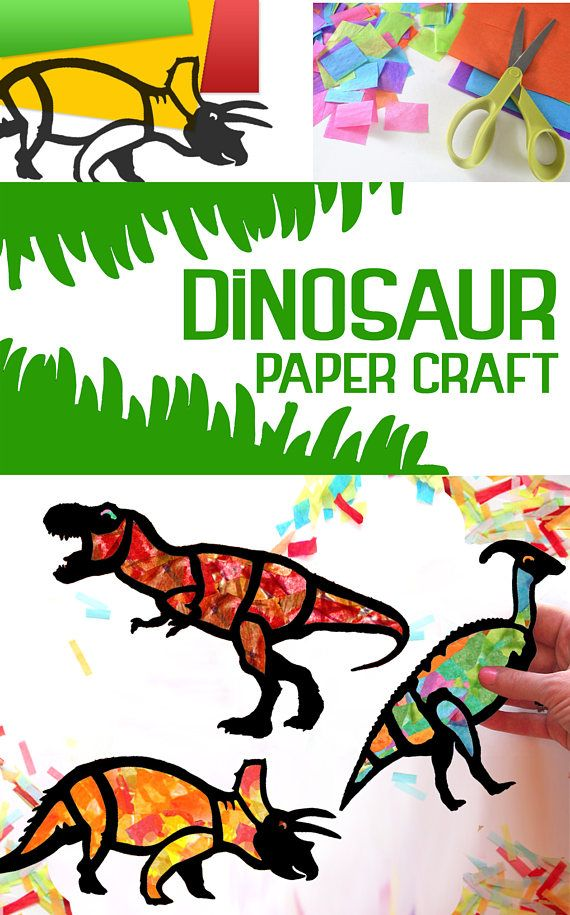 Kids Craft Dinosaur Stained Glass Suncatcher Kit Using Tissue