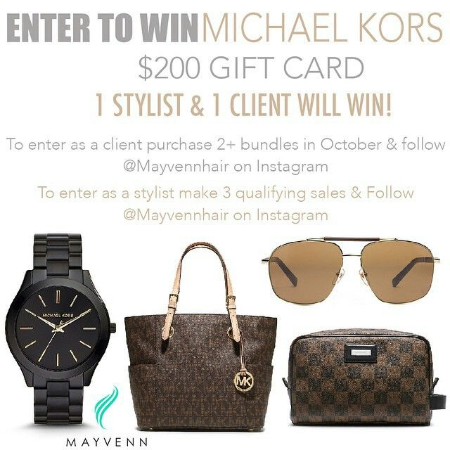 Http://hairbychab.mayvenn.com  Hey Mayvenns! October's raffle will be a $200 Michael Kors gift card. There will be 2 winners. One Stylist & one Client. To enter as a client just make 3 qualifying sales, and follow @mayvennhair on Instagram. To enter as a client just purchase 2 or more bundles of Mayvenn Hair in the month of October, and follow @mayvennhair on Instagram.