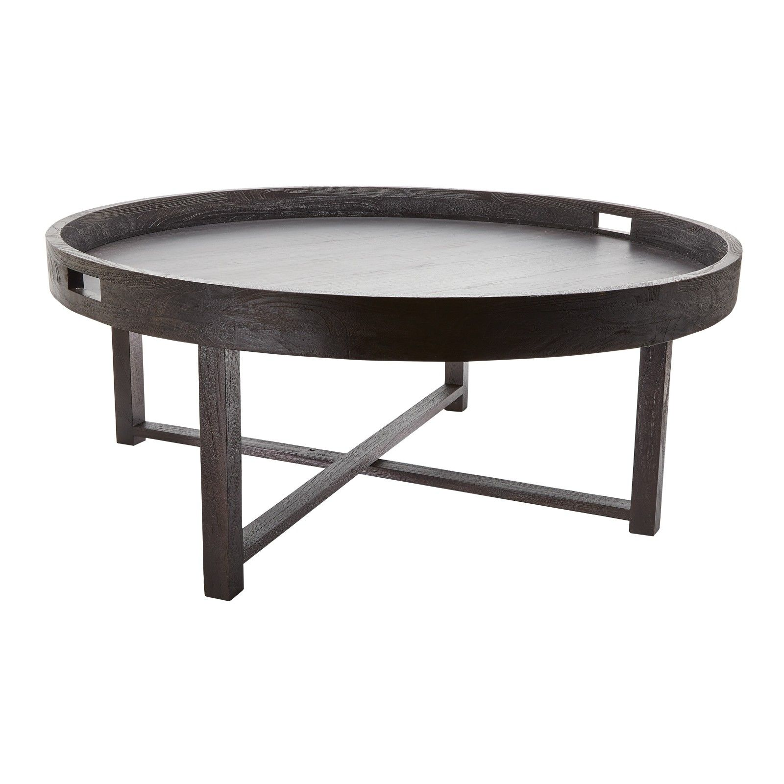 ROUND BLACK TEAK COFFEE TABLE TRAY