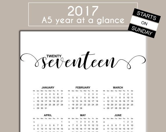 A5 2017 Printable Year At A Glance Calendar - Planner Insert For