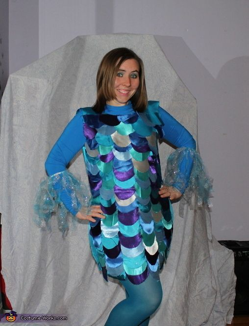 Rainbow fish teacher costume rainbow fish homemade for Fish costume for adults