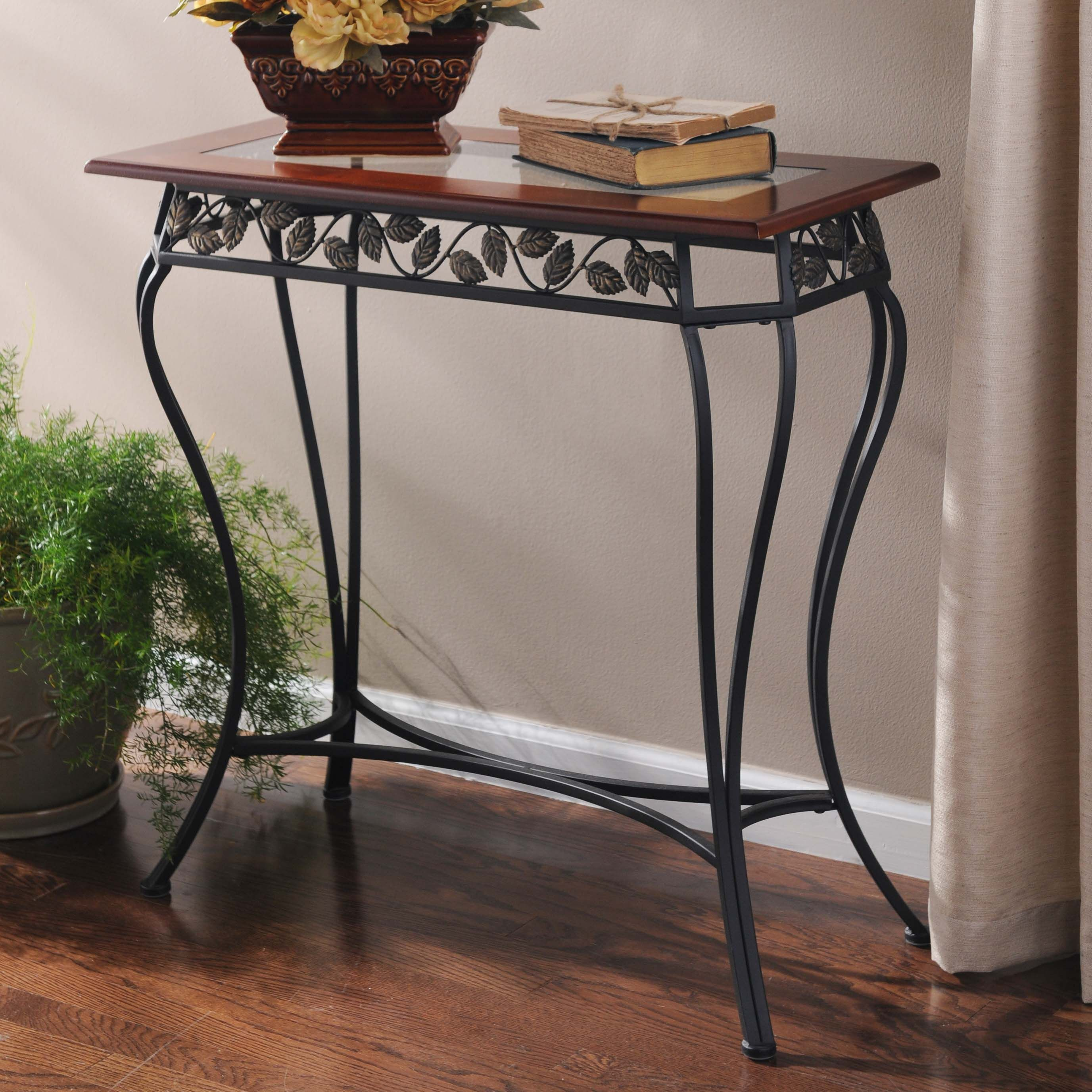 Bronze Leaf Walnut Glass Console Table Woods Glass And  # Muebles Bobrick