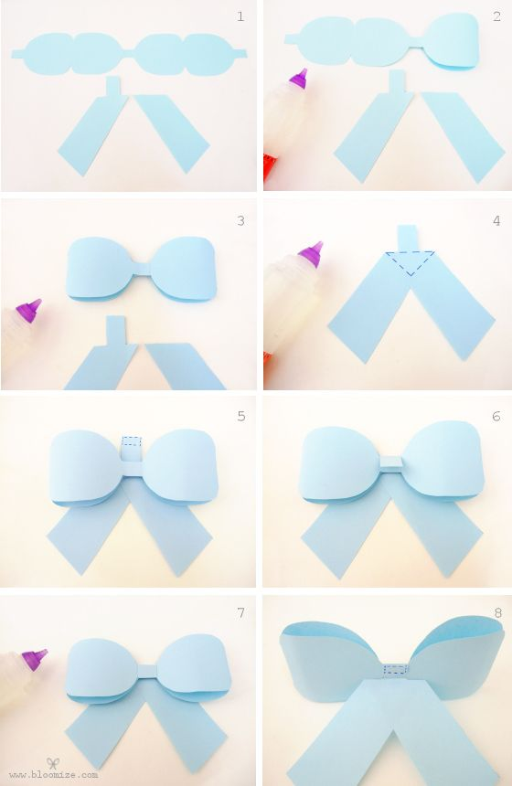 Paper Ribbon Bow Template Steps