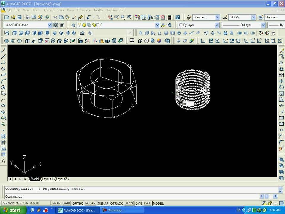 AutoCAD 2007 3D - How to Draw a Nut - كيف ترسم صامولة على الاوتو كاد