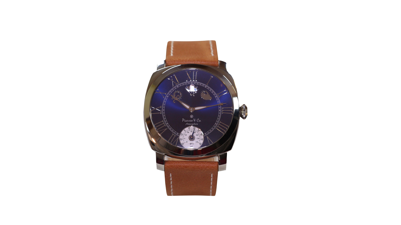 Picasso And Co Watches Model Pwbnrg01 ساعة رجالية جلد طبيعي لون بني مع اطار لون ذهبي من الستيل المقاوم للصدأ ميناء لون بني Gifts Time Piece Jaeger Watch