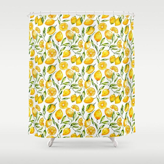 Lemon Shower Curtain Lemon Print Yellow Shower Curtain Sunny Lemon