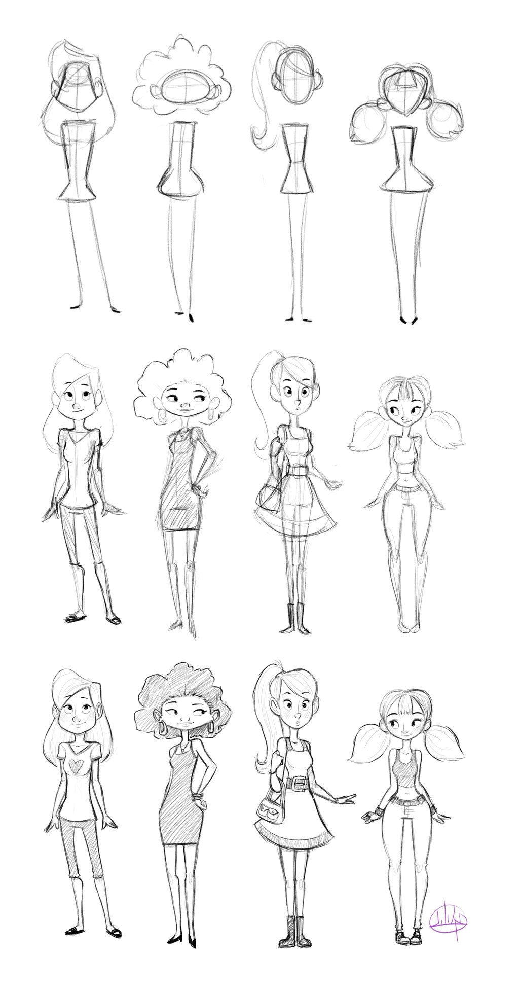 Female body forms cartoon