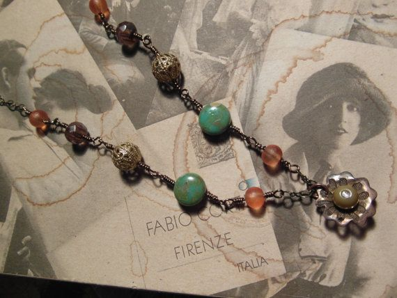 Whimsical Flower necklace with Czech Picasso Beads by TribalTurtle, £12.60