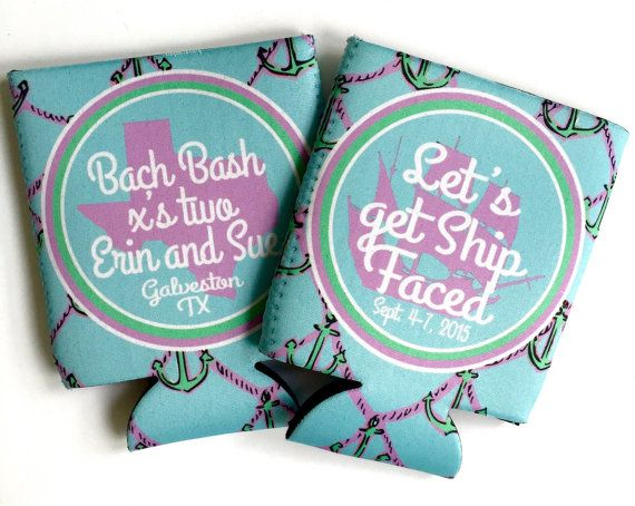 Lilly Anchor Huggers. Monogrammed Bachelorette or Birthday Party Coolies. Personalized Coolies are great Bachelorette Party or Bridesmaid favors.