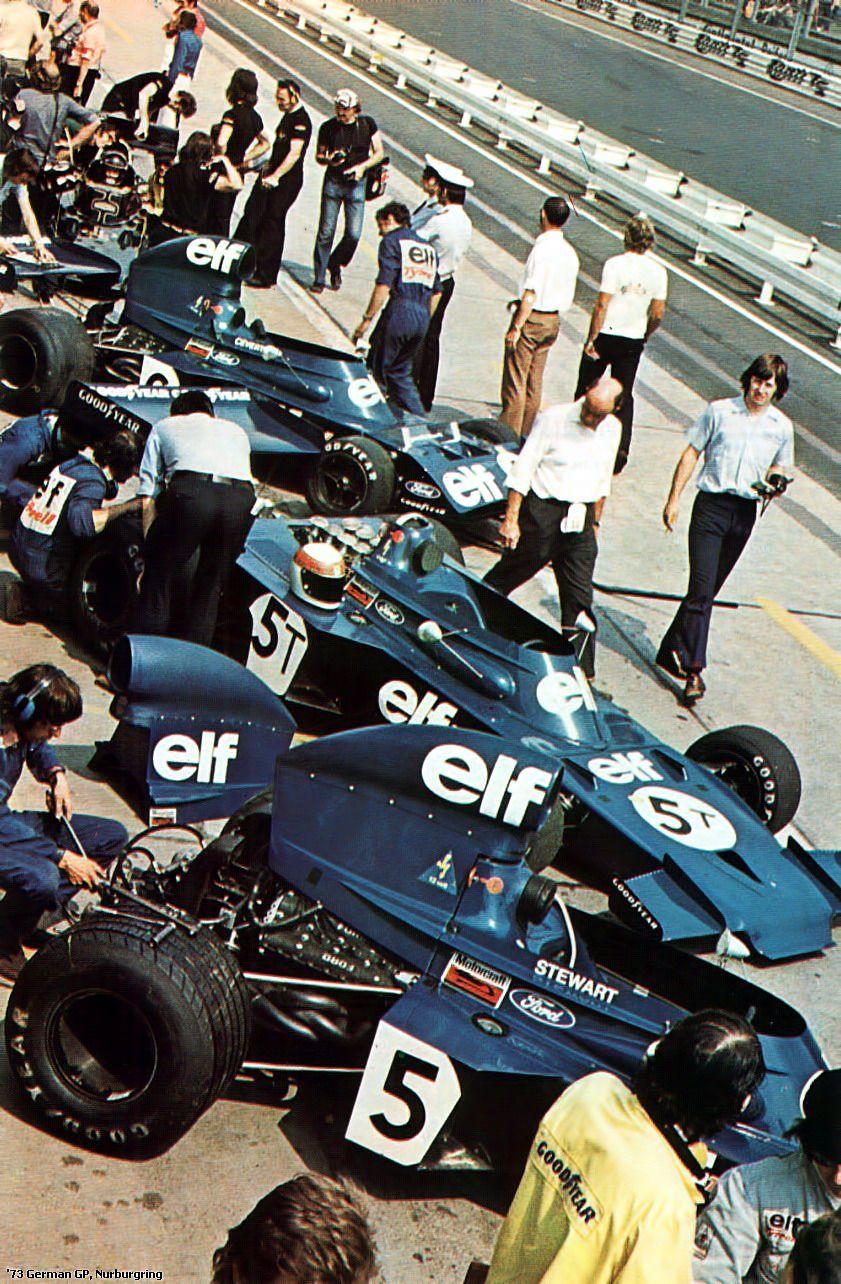 jacqalan f1 1973 nurburgring tyrrell team on the pit lane classic racing cars classic racing race cars jacqalan f1 1973 nurburgring