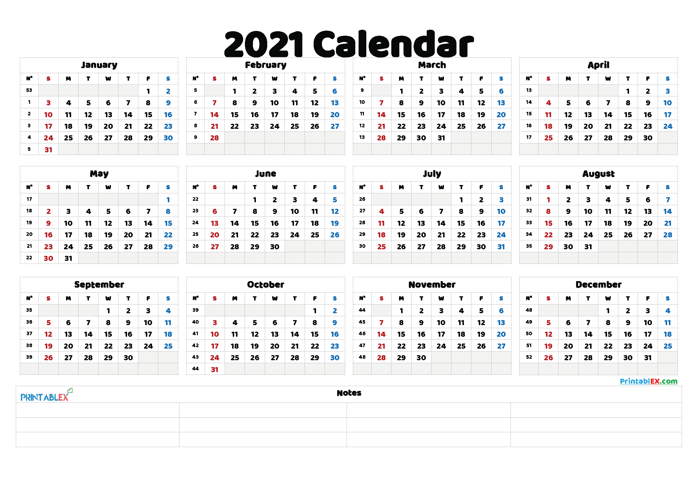 Free Printable 2021 Yearly Calendar 21ytw137 In 2020 Printable Yearly Calendar Calendar With Week Numbers Printable Calendar Template