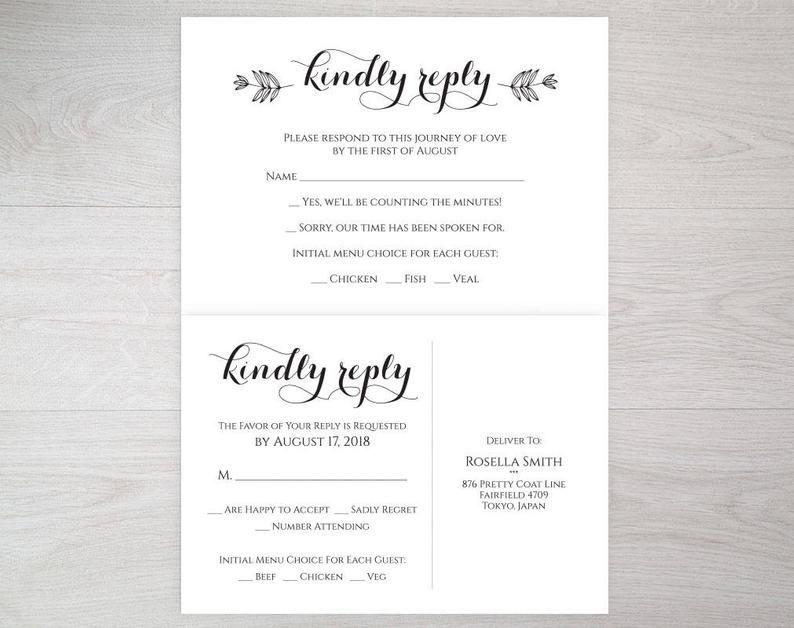 Wedding Rsvp Cards Rsvp Template Rsvp Wedding Cards Etsy Rsvp Wedding Cards Wedding Rsvp Wedding Cards