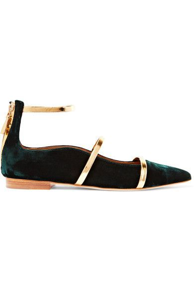 MALONE SOULIERS Robyn Metallic And Suede Flats