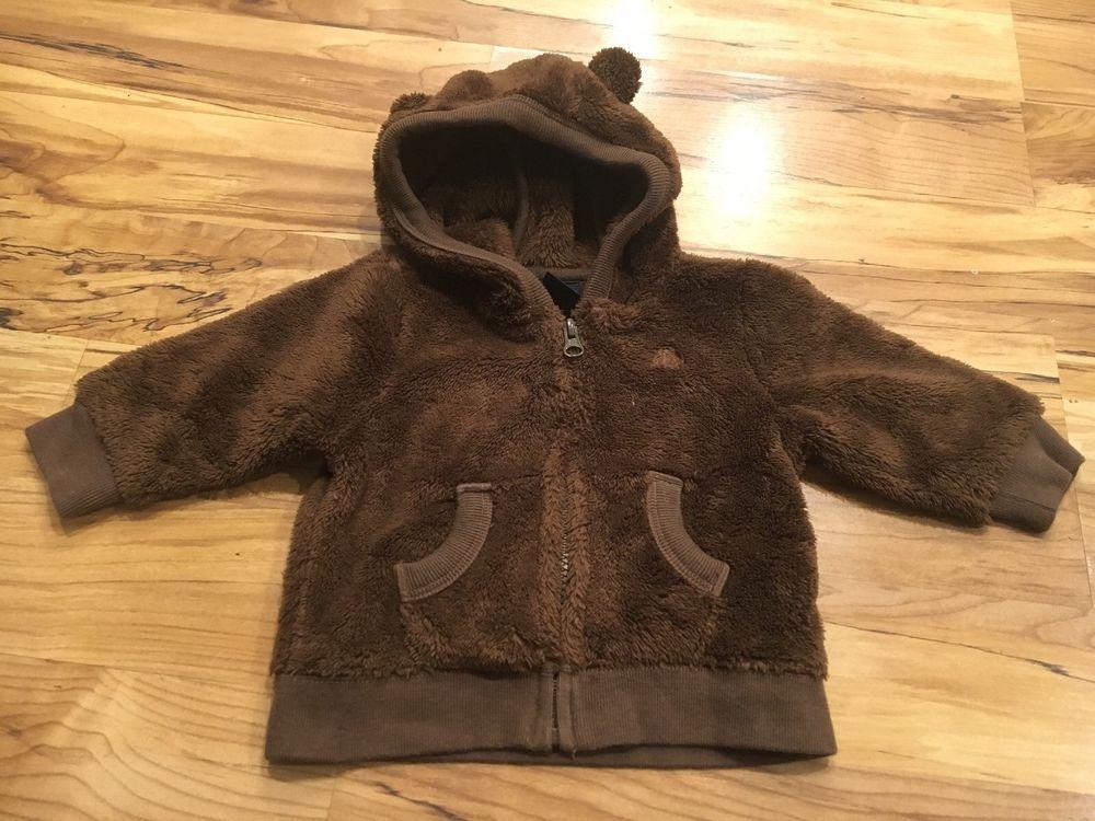 76bb0bb4aeb9 Baby Gap Boys Brown Fleece Bear Hoodie Zip Up Jacket Sweatshirt 6-12 ...