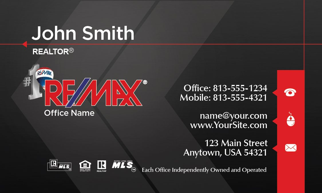 Geometric styled Remax Business Card | Real Estate Business Card ...