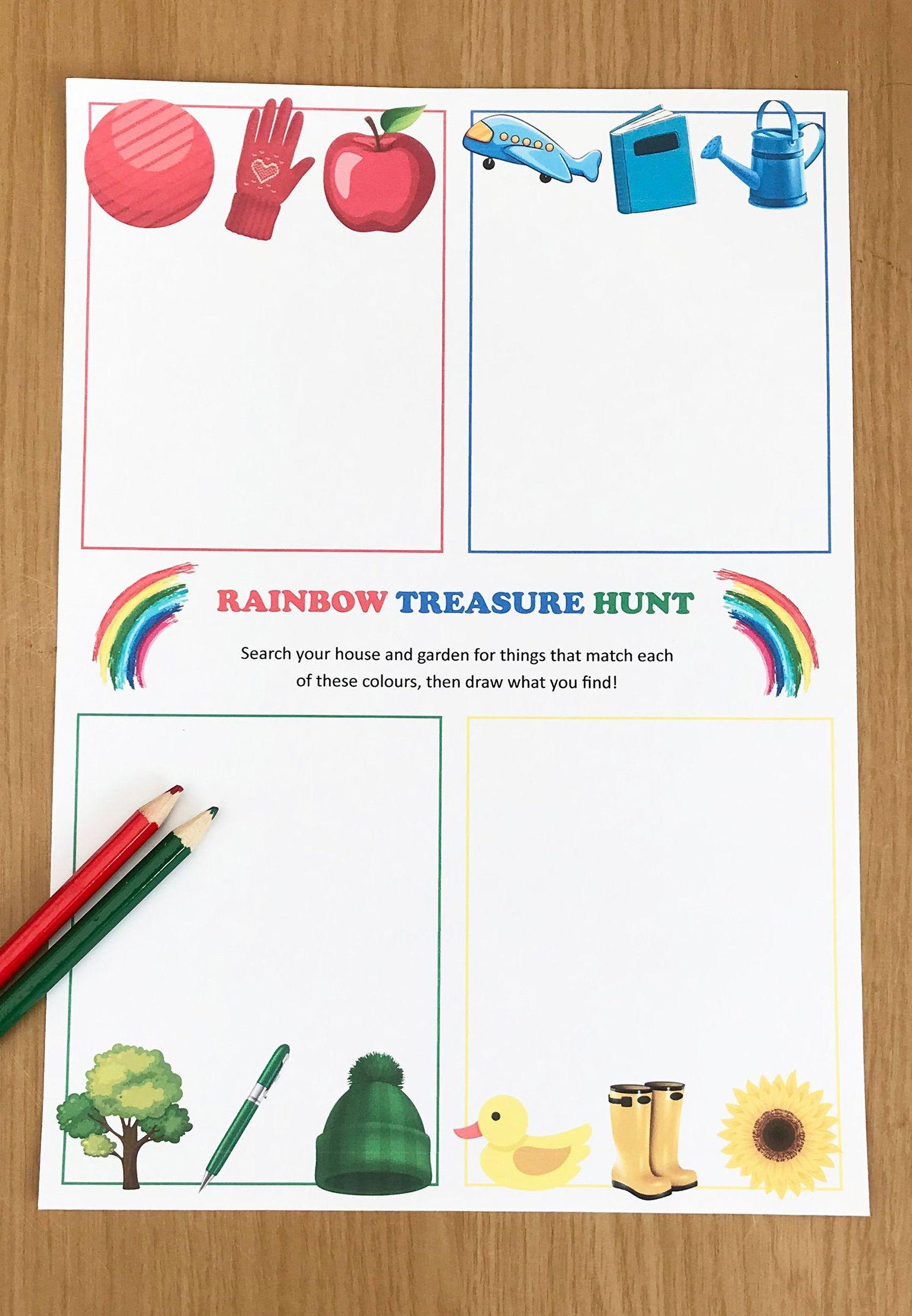 Printable Rainbow Treasure Hunt Worksheet For Kids In
