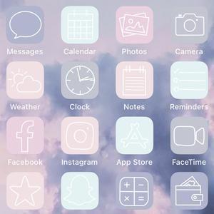 Aesthetic ios14 App Icons Baby Blue iPhone App Ico