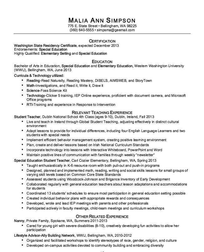 Sample of Elementary Teacher Resume - http://resumesdesign.com ...