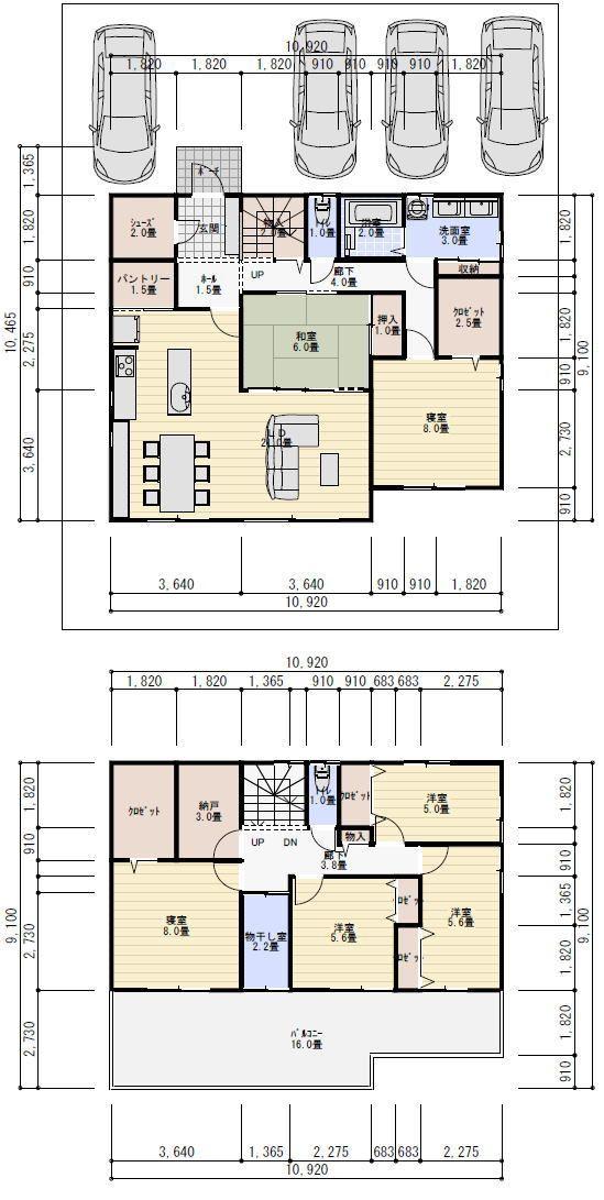 50坪6ldk小屋裏収納のある間取り 理想の間取り 間取り 2世帯